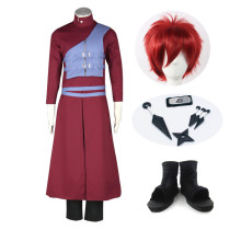 Anime Naruto Gaara Cosplay Costume Whole Set With Wigs and Shoes Props