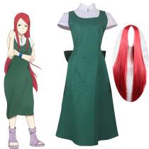 Anime Naruto Uzumaki Kushina Cosplay Costume With Wigs Set