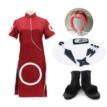 Anime Naruto Haruno Sakura Red Cheongsam Costume Whole Set With Props and Wigs and Shoes