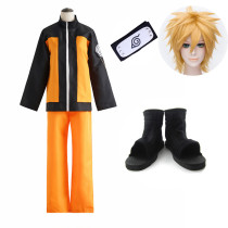 Anime Naruto Shippuden Naruto Uzumaki Cosplay Costume Whole Set Top Pants Wigs Headband Shoes