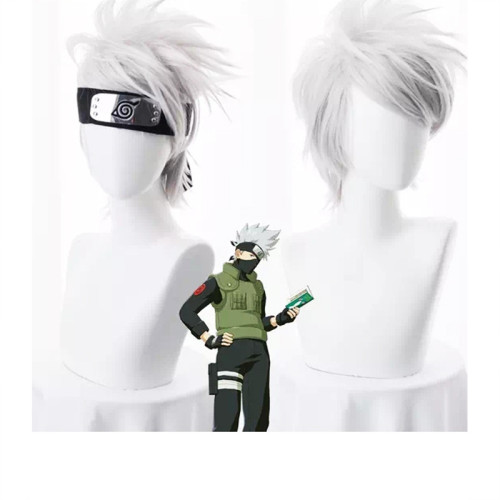 Anime Naruto Kakashi Hatake Cosplay Wigs With Headband