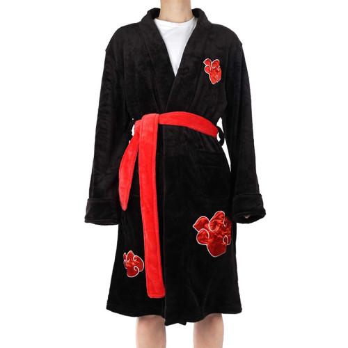 Anime Naruto Shippuden Akatsuki Cosplay Costume Winter Warm Flannel Bathrobe