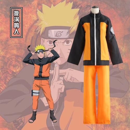 Anime Naruto Shippuden Naruto Uzumaki Cosplay Costume and Cloak Halloween Costume Set