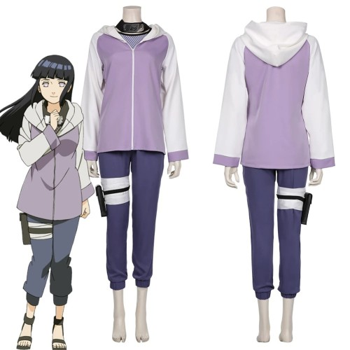 Anime Naruto Hinata Hyuga Cosplay Costume Whole Set Top Pants Leg Wrappings Kunai Bag