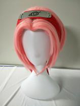 Anime Naruto Haruno Sakura Coaplay Short Pink Wigs With Headband