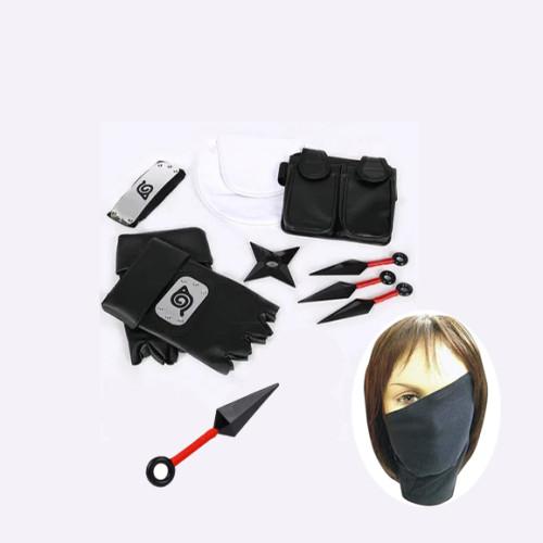 Anime Naruto Kakashi Hatake Cosplay Props Set Kunai+Headband+Mask+Bags+Gloves