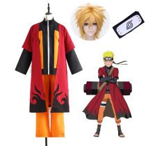 Anime Naruto Shippuden Naruto Uzumaki Cosplay Costume With Cloak Wigs Whole Halloween Costume Suit