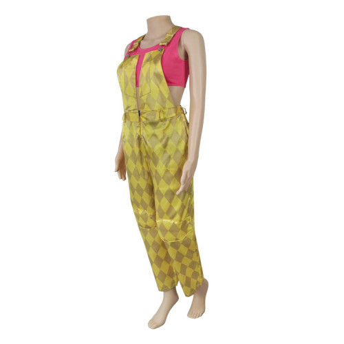 The Suicide Squade Harley Quinn Yellow Cosplay Costume Jumpsuit Halloween Costume