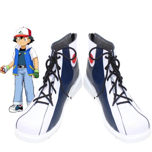 [Kids/Adults] Anime Pokemon Ash Ketchum Cosplay Costume Suit Halloween Costume Cosplay Shoes