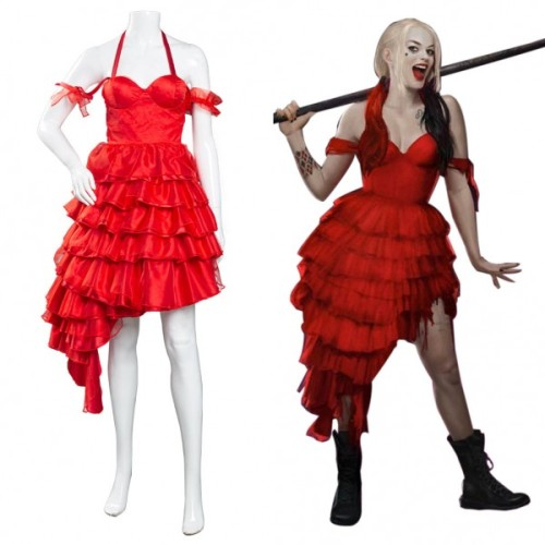 The Suicide Squad(2021)Harley Quinn Red Dress Coaplay Costume Outfits Halloween