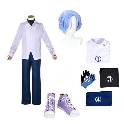 Anime Sk8 the Infinity Langa Hasegawa Cosplay Costume Whole Set With Blue Wigs and Purple Shoes