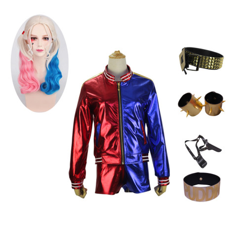 Youth Adults Halloween Costume Harley Quinn Cosplay Costume Full Set With Props and Wigs