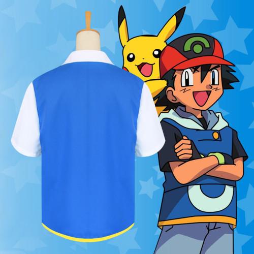 [Kids/Adults] Anime Pokemon Indigo League Ash Ketchum Cosplay Costume Zipper Shirt With Hat Poke Ball and Gloves