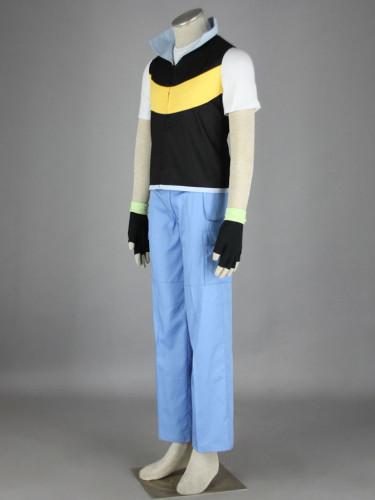 [Kids/Adults] Anime Pokemon Diamond & Pearl Ash Ketchum Cosplay Costume Suit Halloween Costume