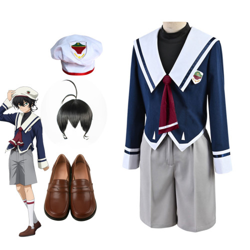 Anime Sk8 the Infinity Miya Chinen Cosplay Costume School Uniform Whole Set With Wigs and Shoes