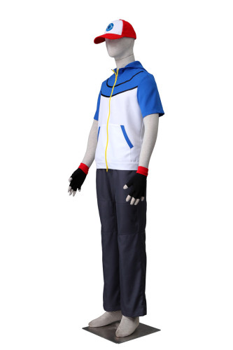 [Kids/Adults] Anime Pokemon Best Wishes Ash Ketchum Cosplay Costume Suit Halloween Costume