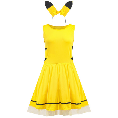 Pokemon Pocket Monster Pikachu Cosplay Costume Dress Halloween Costume