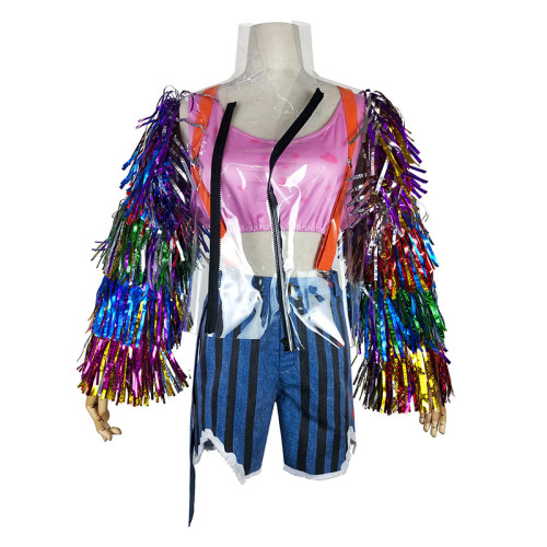 The Suicide Squade Harley Quinn Colorful Cosplay Costume Cool Halloween Costume