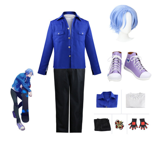 Anime Sk8 the Infinity Langa Hasegawa Cosplay Costume Blue Version Whole Set With Wigs and Shoes