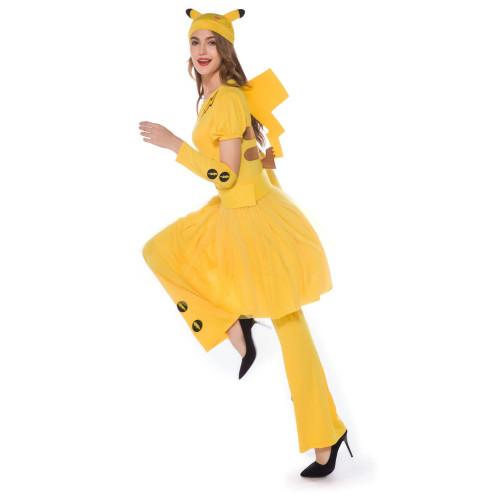 2021 New Pokemon Pocket Monster Pikachu Adults Couple Matching Costume Pikachu Jumpsuit / Dress Halloween Costume