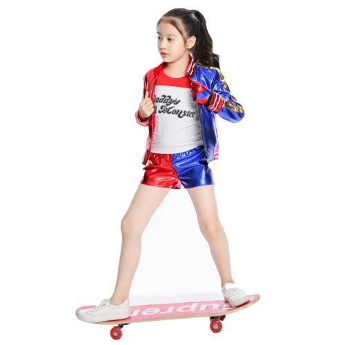 Kids Halloween Costume Harley Quinn Cosplay Costume Suit For Girls Boys