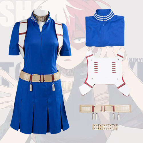 Anime My Hero Academia Todoroki Shoto Female Costume Fighting Suit Cosplay Costume Whole Set With Wigs and Boots