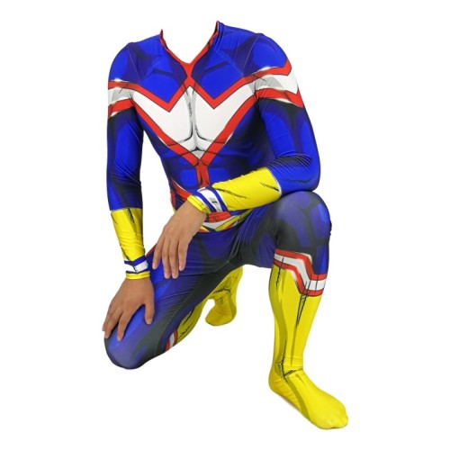 [Kids/Adults] Anime My Hero Academia All Might Cosplay Zentail Costume With Wigs Halloween Costume Outfit