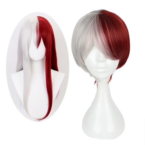 Anime My Hero Academia Todoroki Shoto Cosplay Wigs White and Red Wigs Male Female