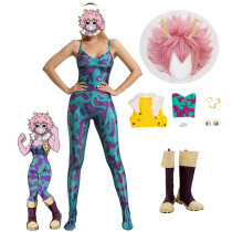 Anime My Hero Academia Ashido Mina Pinky Jumpsuit Costume Whole Set With Wigs and Boots