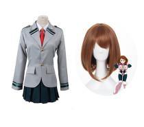 Anime My Hero Academia OCHACO URARAKA Cosplay School Uniform Costume Suit With Wigs