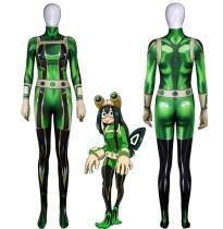 [Kids/Adults] Anime My Hero Academia Asui Tsuyu FROPPY Cosplay Costume Jumpsuit Halloween Zentai Costume