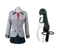 Anime My Hero Academia Asui Tsuyu FROPPY Cosplay Costume School Uniform With Wigs Set