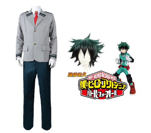 Anime My Hero Academia Midoriya Izuku Deku School Uniform Costume With Wigs Halloween Costume Suit