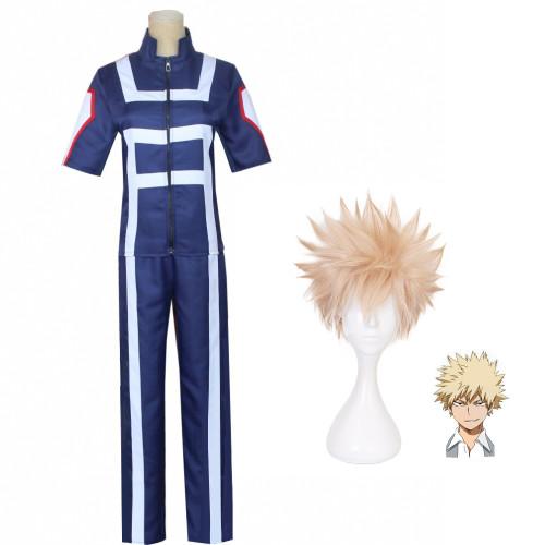 Anime My Hero Academia Bakugou Katsuki Training Suit Costume With Wigs Suit Halloween Cosplay