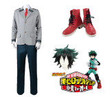 Anime My Hero Academia Midoriya Izuku Deku School Uniform Costume With Wigs and Boots Whole Set Cosplay Costume