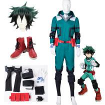 Anime My Hero Academia Midoriya Izuku Deku Cosplay Costume Whole Set Fighting Suit Costume With Wigs and Boots