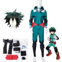 Anime My Hero Academia Midoriya Izuku Deku Green Fighting Suit Cosplay Costume With Wigs Set