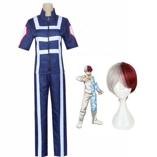 Anime My Hero Academia Todoroki Shoto Training Suit Costume With Wigs Suit Halloween Cosplay Outfit