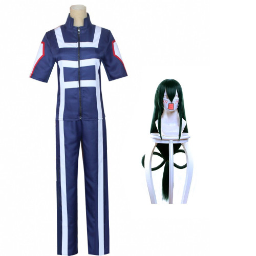 Anime My Hero Academia Asui Tsuyu FROPPY Training Suit Costume With Wigs Halloween Cosplay Outfit