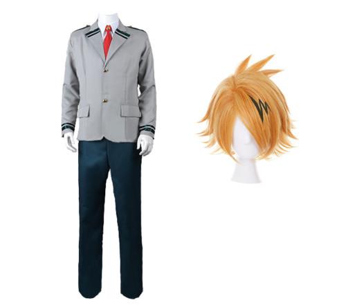Anime My Hero Academia Kaminari Denki Cosplay Uniform Halloween Costume With Wigs Set