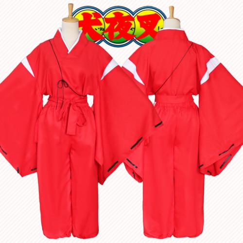 Anime Inuyasha Red Kimono Costume Set Halloween Cosplay Costume