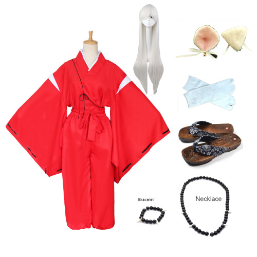 Anime Inuyasha Red Kimono Cosplay Costume Whole Set Costume With Wigs Clogs and Props