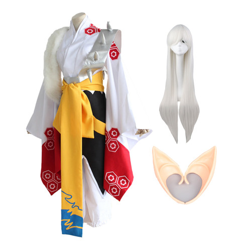 Anime Inuyasha Sesshoumaru Cosplay Costume Whole Set With Wigs Elf Ears Props Carnival Halloween Cosplay Costume Outfit