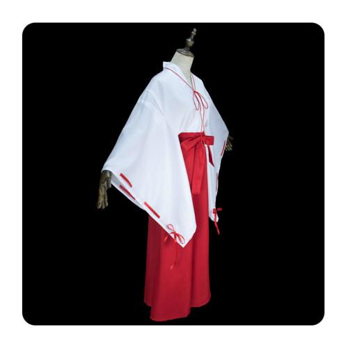 Anime Inuyasha Kagome Higurashi Cosplay Costume Red Kimono Costume Whole Set With Wigs and Clogs and Socks