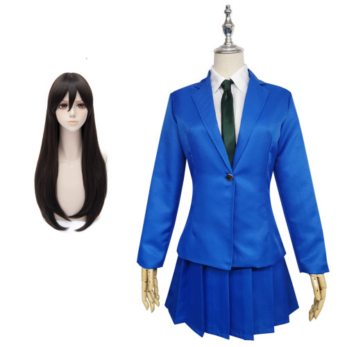 [Kids /Adults ] Anime Case Closed Mouri Ran Cosplay Costume Blue JK Uniform Cosplay Costume With Wigs Set