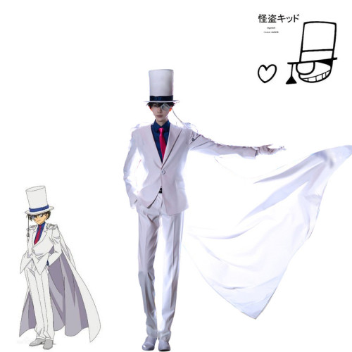 [Kids /Adults ] Anime Detective Conan: Case Closed Kaitou Kiddo Costume Halloween Costume With Hat