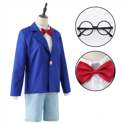 [Kids/Adults] Anime Case Closed Shinichi Kudo Conan Edogawa Cosplay Costume Suit With Glasses Carnival Halloween Cosplay Costume Outfit