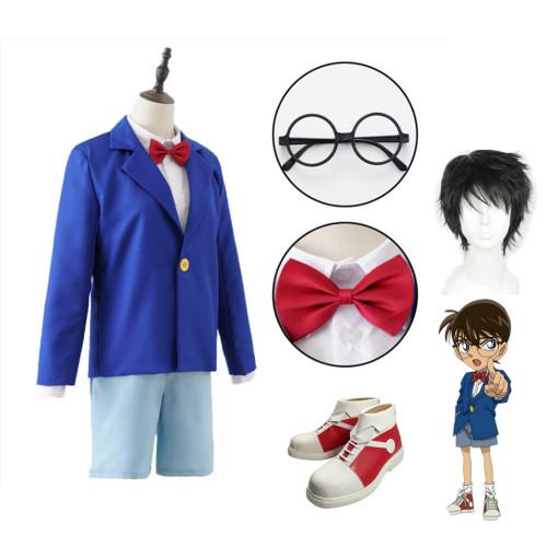 [Kids /Adults ] Anime Case Closed Shinichi Kudo Conan Edogawa Cosplay Costume Whole Set With Wigs and Shoes
