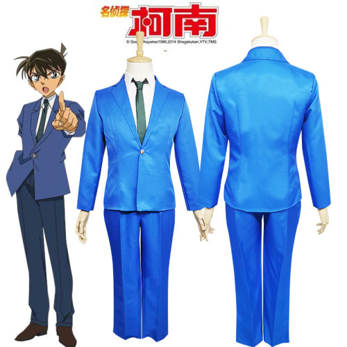 [Kids /Adults ] Anime Case Closed Shinichi Kudo Cosplay Blue Uniform Suit Halloween Cosplay Costume