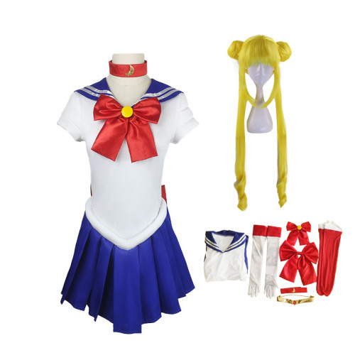 [Kids /Adults ] Anime Sailor Moon Tsukino Usagi Cosplay Costume Whole Set With Wigs Carnival Halloween Cosplay Costume Outfit